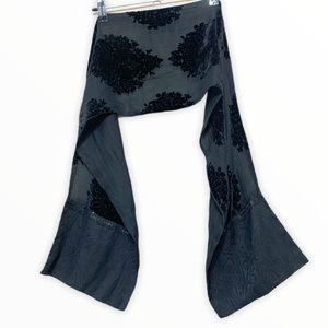 Silk Scarf With embroidery Black